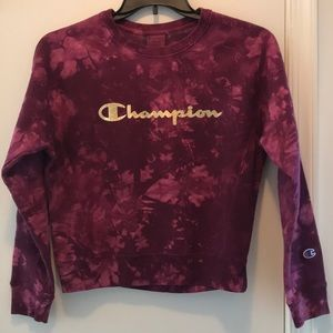 NWT Champion Purple Weave Tie Dye Crewneck